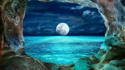 Cave Moonlight Moon Ocean Wallpapers Prohodna Night