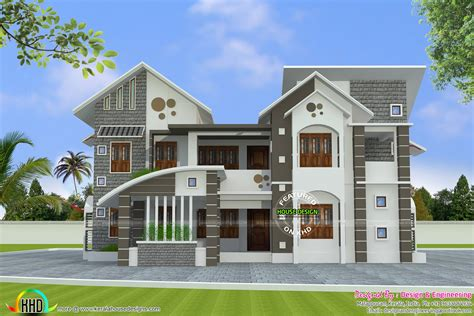 Home Design Engineer by 288 Square Meter Mix Roof House Kerala Home Design And