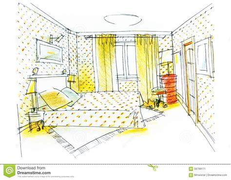 croquis chambre a coucher dessin de chambre à coucher avec le crayon de couleur