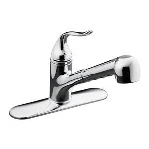 pull kitchen faucets reviews shop kohler coralais polished chrome pull out kitchen
