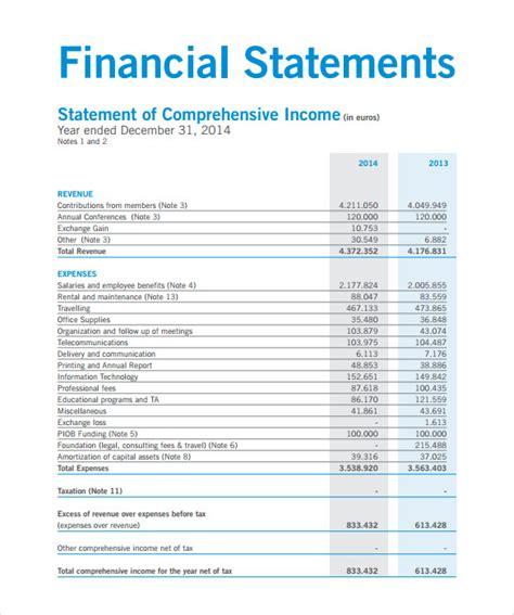 sample contribution income statement templates