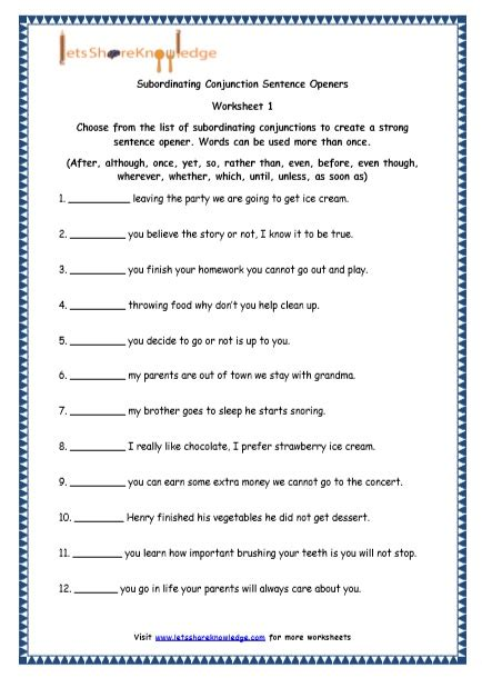 Grade 4 English Resources Printable Worksheets Topic Sentence Openers  Lets Share Knowledge