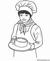 Baker Coloring Drawing Jobs Teller Bank Female Cake Template Padeiro Activity Bakers Sketch Yummy Cakes Makes Torta Popular sketch template