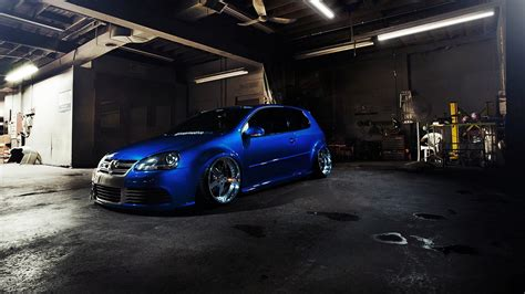 volkswagen car tuning golf gti blue cars wallpapers hd