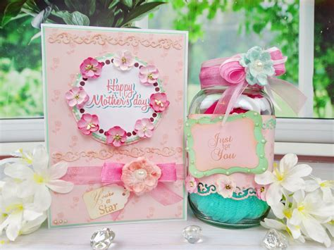 mothers day card spa  jar gift duo