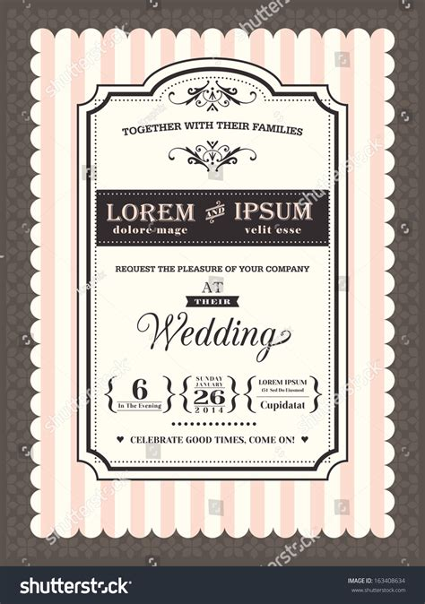 Vintage Wedding Invitation Border Frame Template Stock
