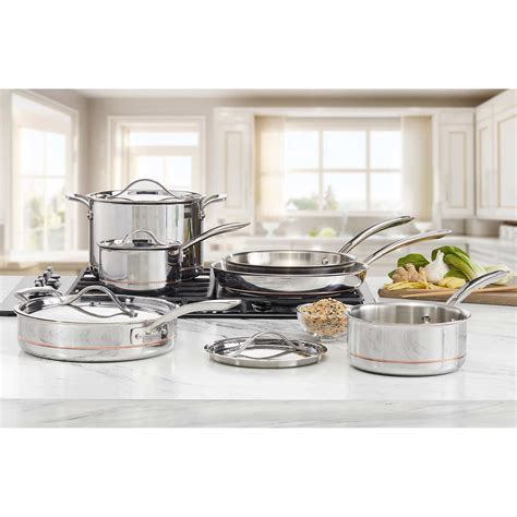 kirkland signature  piece  ply clad stainless steel cookware ebay
