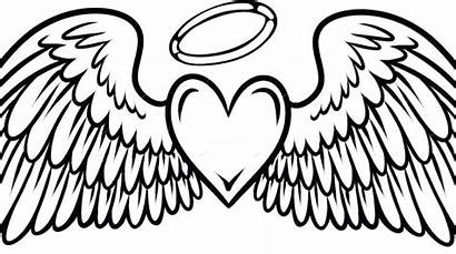 Wings Angel Heart Coloring Pages Drawing Simple
