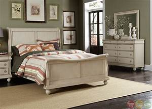 Rustic traditions ii whitewash sleigh bedroom furniture set for Whitewash bedroom furniture