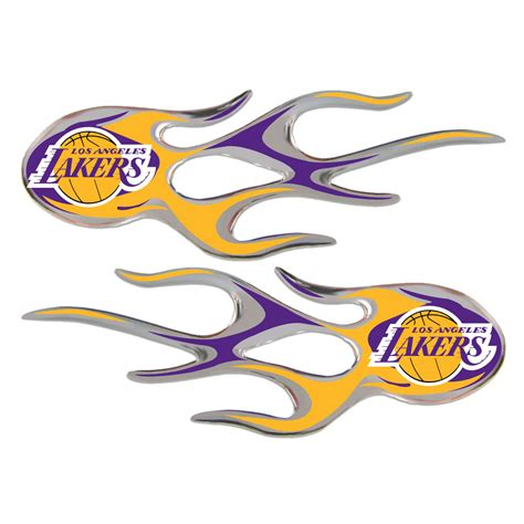 Los Angeles Lakers Domed Flame Decals PAIR ...