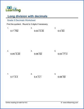grade  decimals worksheet long division  decimals