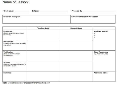 blank lesson plan template ideas  pinterest