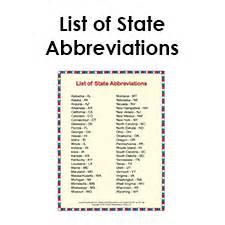 printable list of state abbreviations for students and