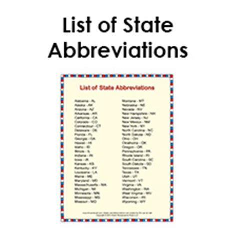 printable list  state abbreviations  students  kids