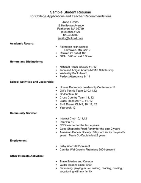 college admission resume template sample student resume