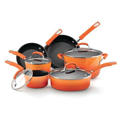 rachael ray hard enamel nonstick  piece cookware set orange home kitchen cookware