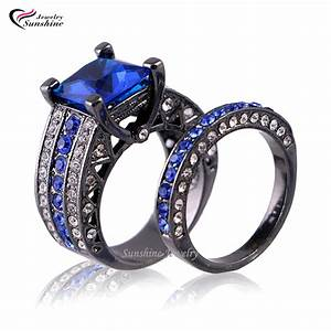 blue cubic zirconia black plated women39s black gold With black gold wedding rings for women