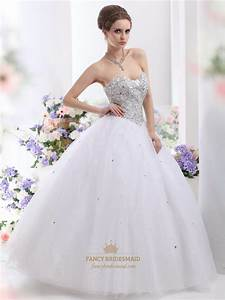 White sweetheart neckline sequin bodice wedding dress with for Sequined wedding dress