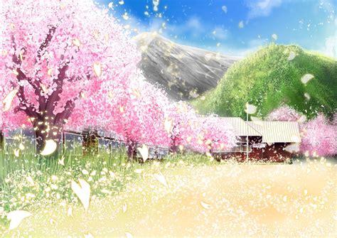 Sword Art Online Scenery Hình ảnh Desktop Vườn Hoa Anh đào Thơ Mộng