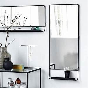 Miroir Cadre Noir : miroir salle de bain vertical cadre noir et tablette 110 x 45 cm ~ Teatrodelosmanantiales.com Idées de Décoration