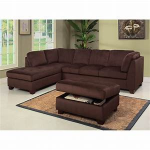 Delano microsuede sectional sofa chaise with storage for Abbyson living delano sectional sofa and storage ottoman set