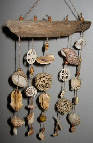 beachy beige driftwood shell mobile   diy beachy