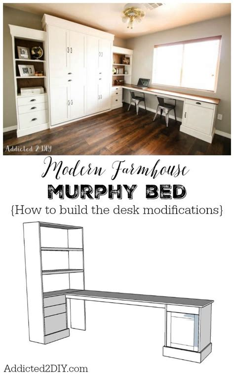 queen size desk bed diy modern farmhouse murphy bed how to build the desk