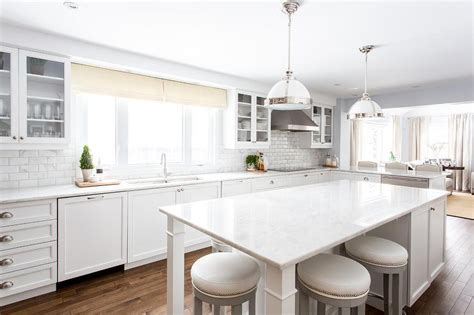 White Kitchen Island With Gray Barstools Transitional