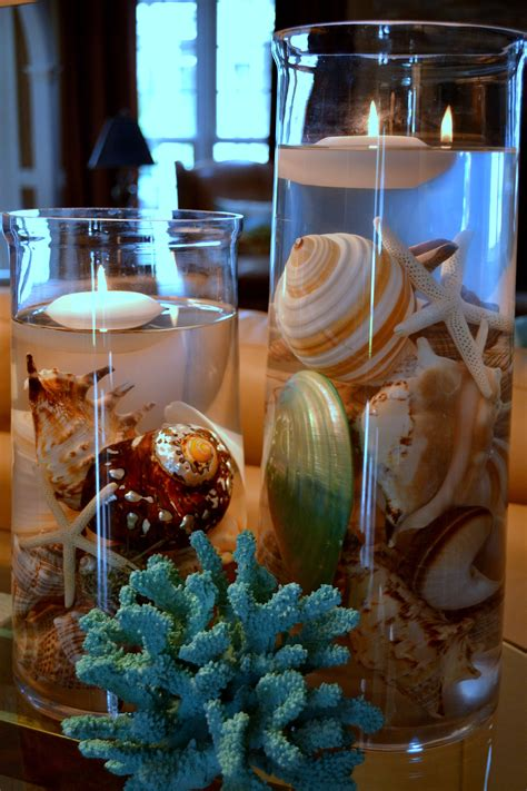 center piece  beautiful shells coral  floating