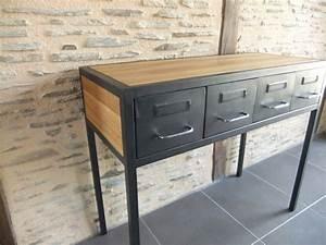 Console Style Industriel : console industrielle acier ch ne sur mesure avec tiroirs ~ Teatrodelosmanantiales.com Idées de Décoration