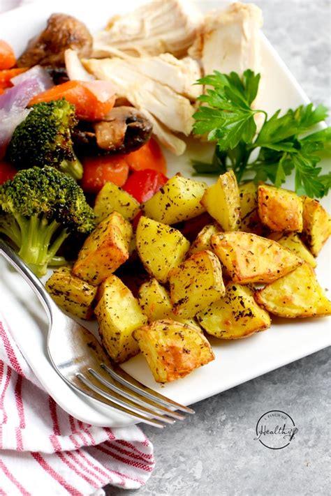 fryer potatoes air roasted garlic chicken healthy herbs recipes baked side veggies plate pinch breakfast apinchofhealthy