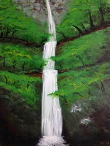 Acrylic Paintings Waterfall and Bridge