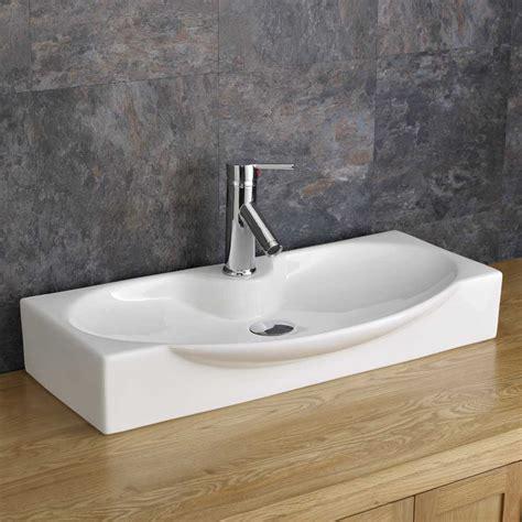 Countertop 69cm X 34cm Shallow Bathroom Sink White Ceramic