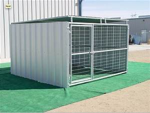 Heavy duty outdoor enclosed dog kennel with roof shelter for Large enclosed dog kennels