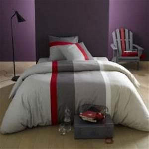 Housse de couette ado adolescent linge de lit housse for Luminaire chambre enfant avec housse couette rouge et grise