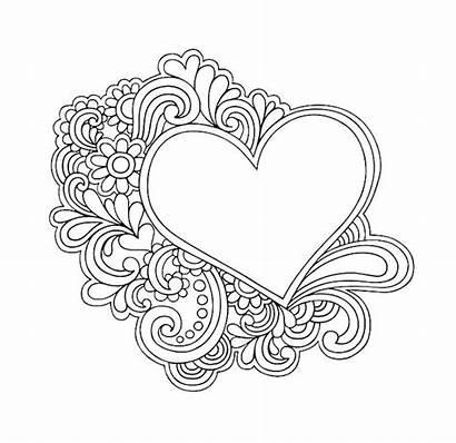 Doodle Simple Heart Coloring Pages Doodles Mandala