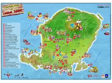 tourism map  lombok island indonesia lombok
