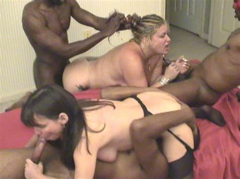 Interracial Group Sex In Bed With Two Juicy Chubby Milfs