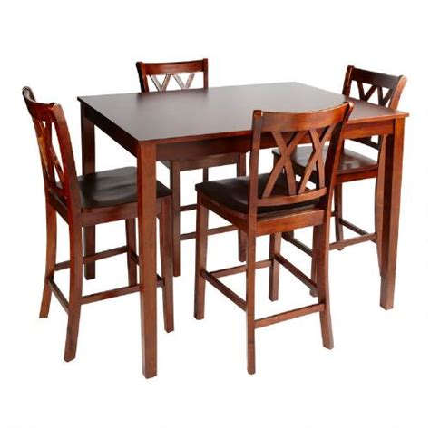 walnut dining high top table and chairs 5 set