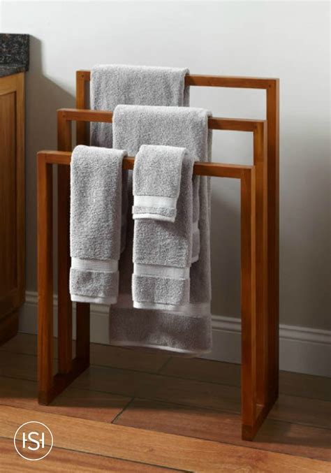 hailey teak towel rack   earthy towel rack