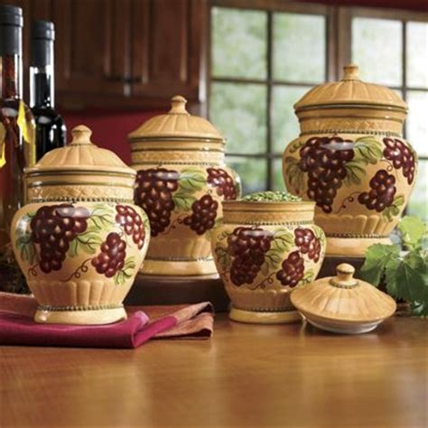 Grape Canister Sets Kitchen by 4 Grape Canister Set From Seventh Avenue 705176