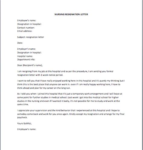 nursing resignation letter sample smart letters