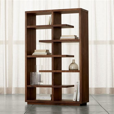 elevate walnut  bookcase crate  barrel