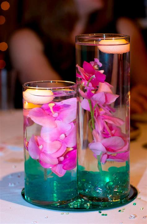 3 tier cylinder vases submerged orchids teal gel water