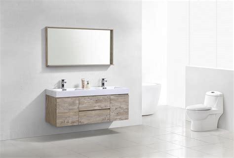 bliss  nature wood wall mount double sink modern