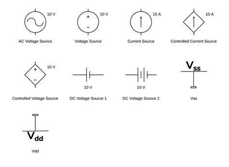 circuit diagram symbols lucidchart