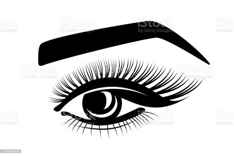 Eyebrow sketch at paintingvalley com explore collection of. Eyelashes Eye Eyebrows Stylized Logo On A White Background ...