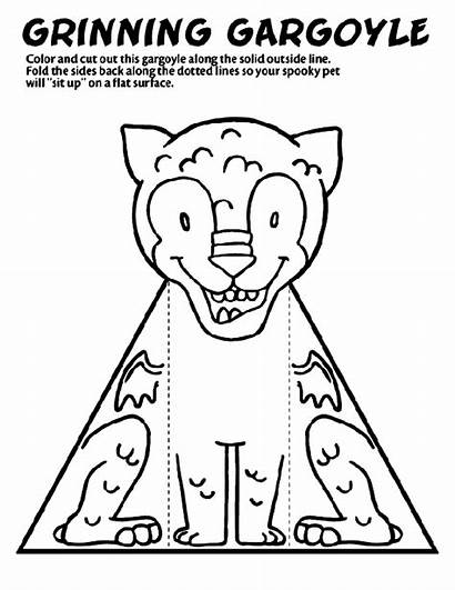 Gargoyle Coloring Pages Crayola Grinning Halloween Crafts