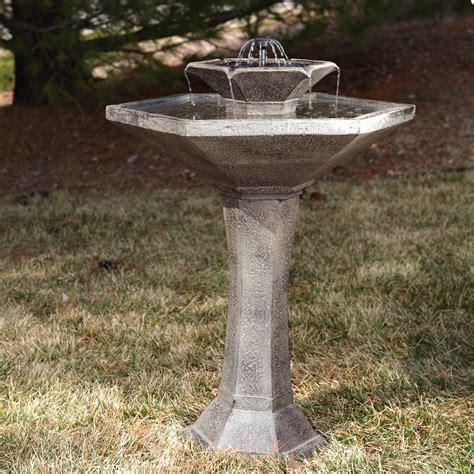 smart solar alfresco 2 tier solar bird bath fountain