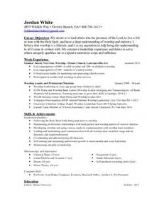 worship leader resume exles youth ministry resume sle ebook database